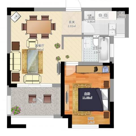 高速・滨湖时代广场1室2厅1卫1厨63.00㎡户型图