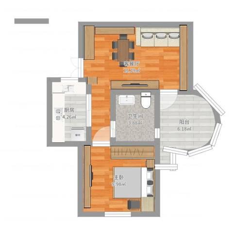 恒高家园1室2厅1卫1厨50.00㎡户型图