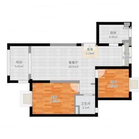 上海裕花园2室2厅2卫1厨75.00㎡户型图