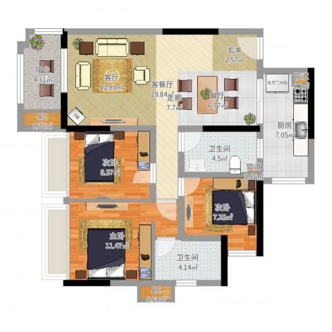 乐湾首府3室2厅6卫1厨98.00㎡户型图