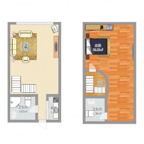 中环财富杰座商住楼1室1厅2卫1厨73.00㎡户型图