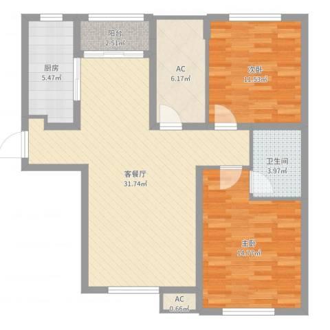 威廉公馆2室2厅1卫1厨96.00㎡户型图