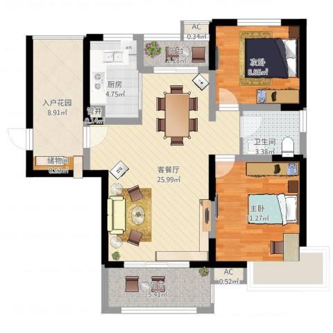 高速滨湖时代广场2室2厅1卫1厨105.00㎡户型图