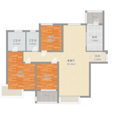名门华都3室2厅2卫1厨133.00㎡户型图