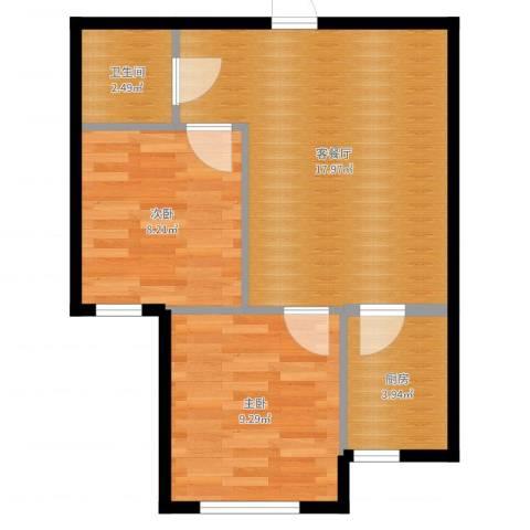 巴黎春天2室2厅1卫1厨52.00㎡户型图