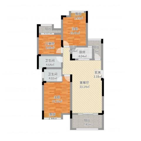 竣尊・御景国际3室2厅2卫1厨122.00㎡户型图