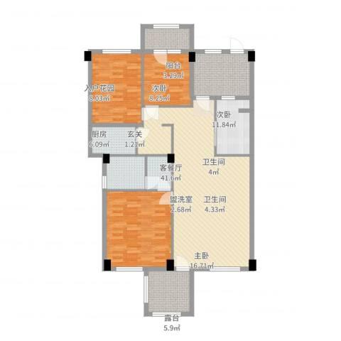 假日湾3室4厅2卫1厨159.00㎡户型图