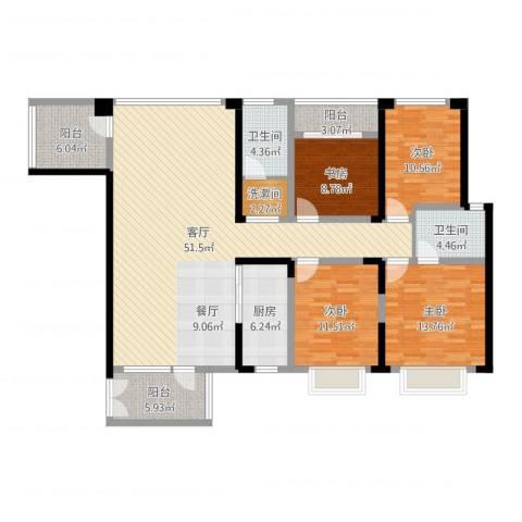 奥克斯广场4室1厅2卫1厨161.00㎡户型图