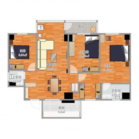 展麟大厦B9013室2厅2卫1厨127.00㎡户型图
