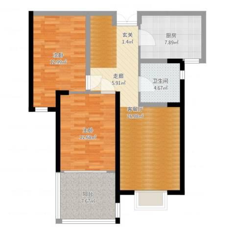 华辰丽景2室2厅1卫1厨90.00㎡户型图