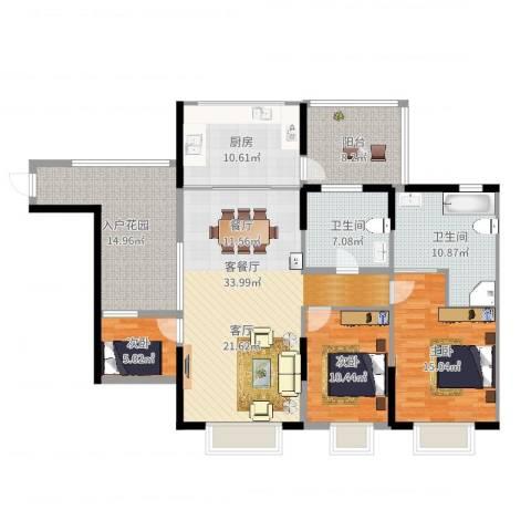 景山一号3室2厅2卫1厨145.00㎡户型图