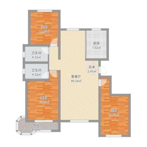 帝豪・丽水蓝湾3室2厅2卫1厨129.00㎡户型图