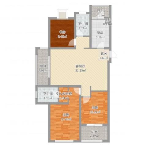 金域华府3室2厅2卫1厨117.00㎡户型图