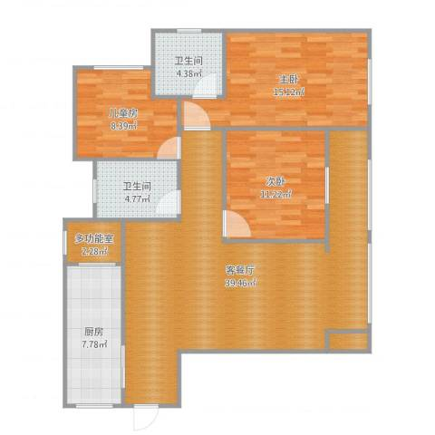 荣昌县博能世纪新城3室2厅3卫1厨118.00㎡户型图