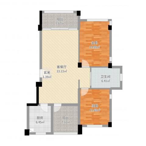 凌河郡2室2厅1卫1厨107.00㎡户型图