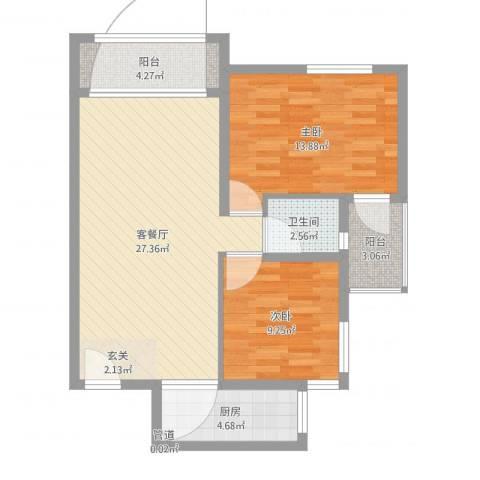 淮安万达广场2室2厅1卫1厨81.00㎡户型图
