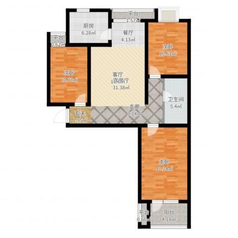 幸福城3室2厅1卫1厨129.00㎡户型图