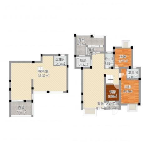 长欣苑3室2厅3卫1厨145.00㎡户型图
