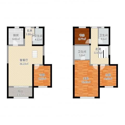 天朗蔚蓝东庭4室2厅3卫1厨157.00㎡户型图
