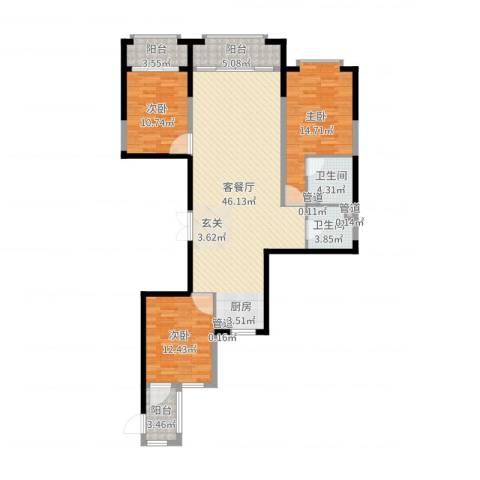 尚诚国际3室2厅4卫1厨131.00㎡户型图