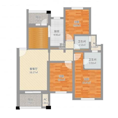 陆宇中央郡3室2厅2卫1厨78.57㎡户型图
