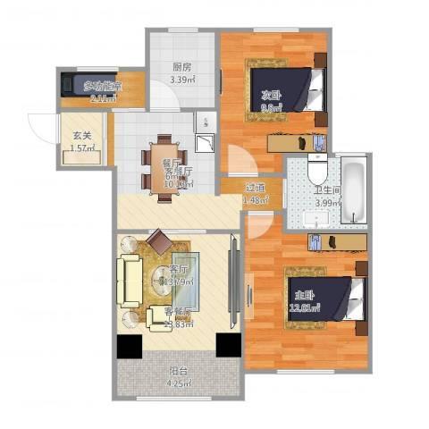 天池湾2室4厅1卫1厨71.00㎡户型图