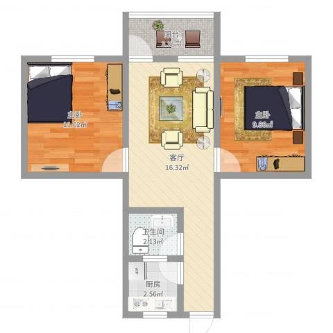 广花三路小区2室1厅1卫1厨57.00㎡户型图