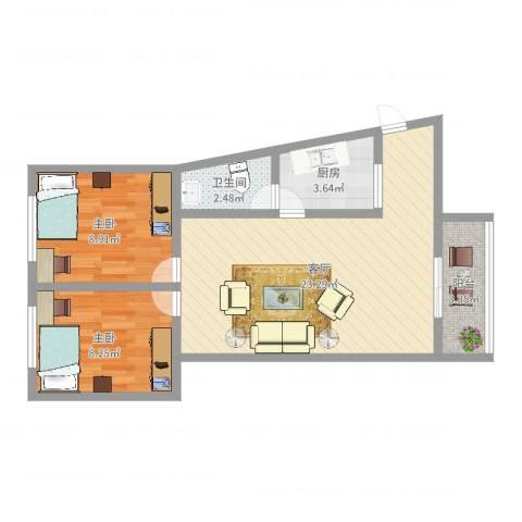 宏航苑2室1厅1卫1厨62.00㎡户型图