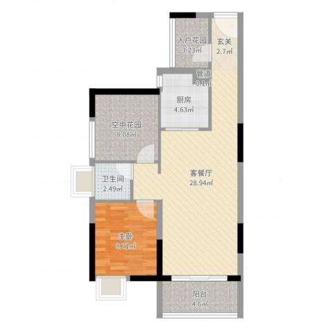 锦地繁花1室2厅1卫1厨76.00㎡户型图