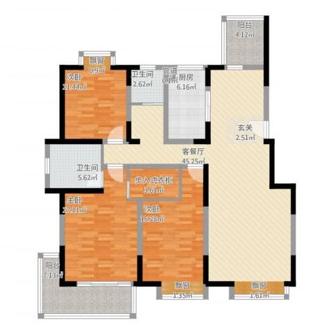 香港映象二期3室2厅2卫1厨170.00㎡户型图