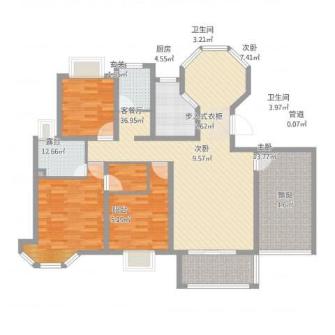 水榭花城3室2厅2卫1厨145.00㎡户型图