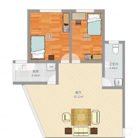 同德花园2室1厅1卫1厨76.00㎡户型图
