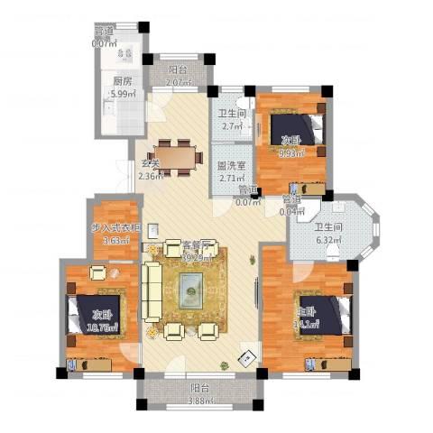 三鼎春天3室2厅2卫1厨127.00㎡户型图