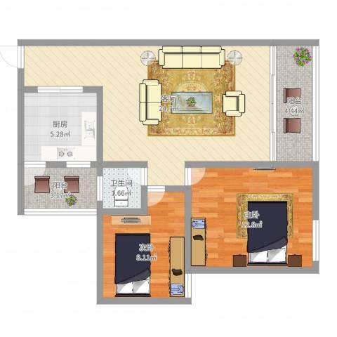 兰亭熙园2室1厅1卫1厨75.00㎡户型图
