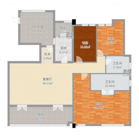 万科松山湖1号3室2厅2卫1厨208.00㎡户型图