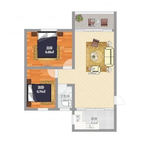 穗宁花园2室1厅1卫1厨58.00㎡户型图