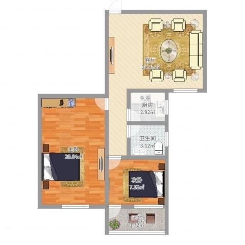 和辉花园2室1厅1卫1厨77.00㎡户型图