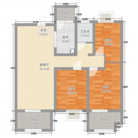 东方今典御府3室2厅1卫1厨119.00㎡户型图