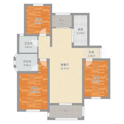 绿地国际花都3室2厅2卫1厨111.00㎡户型图