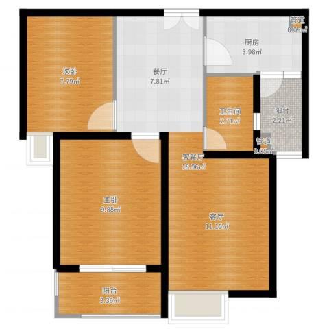文化七村2室2厅1卫1厨61.00㎡户型图