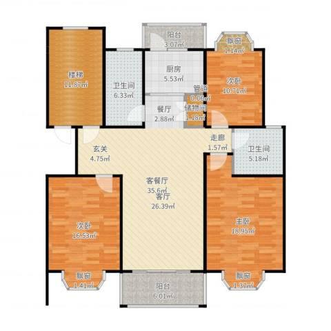 金汇广场二期3室2厅2卫1厨151.00㎡户型图