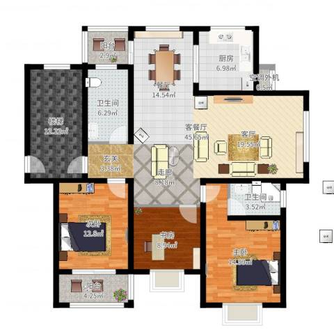 锦绣花园3室2厅2卫1厨149.00㎡户型图
