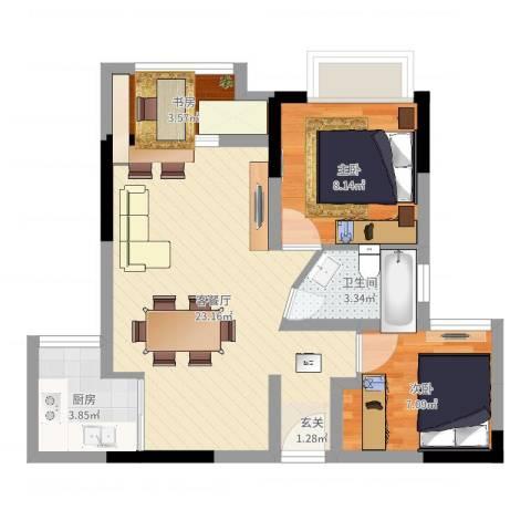 首创光和城3室2厅1卫1厨61.00㎡户型图