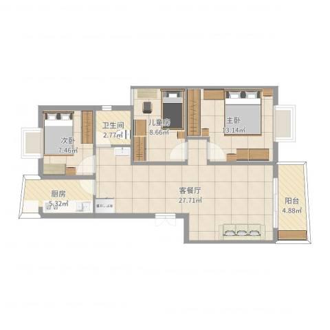 风和日丽二期3室2厅1卫1厨87.00㎡户型图