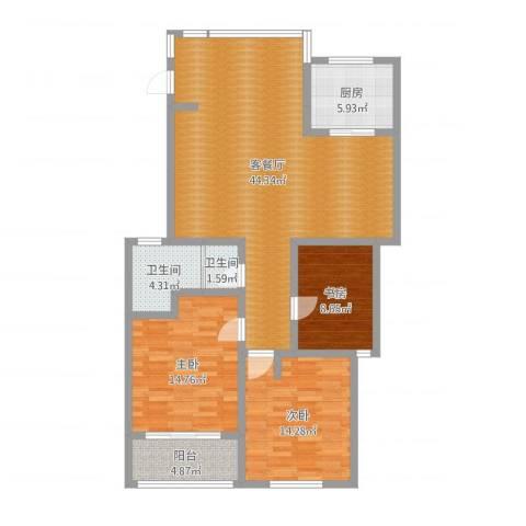月半湾四区13-5033室2厅2卫1厨123.00㎡户型图