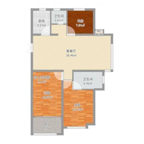 当代国际广场3室2厅2卫1厨124.00㎡户型图
