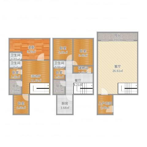 怡翠花园芙蓉苑南5栋8031室2厅3卫1厨117.00㎡户型图