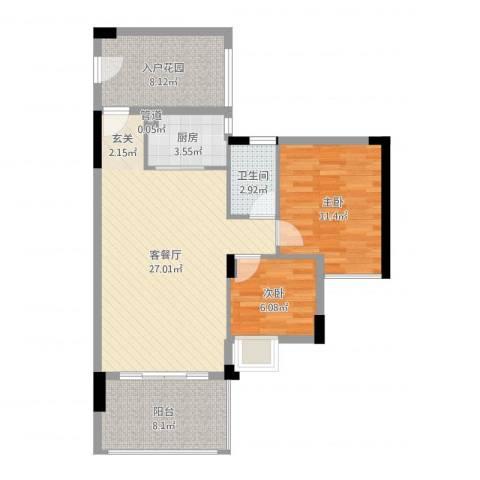 泰富御山郡2室2厅1卫1厨84.00㎡户型图