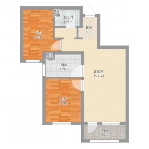 大运河孔雀城温莎郡2室2厅2卫2厨71.00㎡户型图