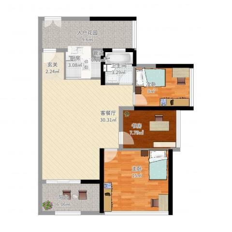 君华新城3室2厅1卫1厨119.00㎡户型图